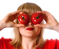 Lady in red with two tomato Stock Photo