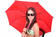 Lady with a red umbrella Royalty Free Stock Image