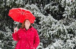 Lady in red in a white winter land royalty free stock images