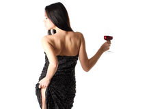 Lady with a red wine glass Royalty Free Stock Photos