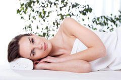 Lady resting after massage Stock Photography