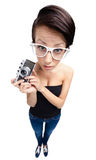 Lady with retro photographic camera Stock Images