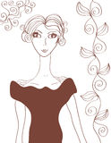 Lady retro sketch Royalty Free Stock Photography