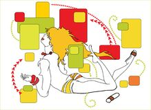 lady retro sunbathing ελεύθερη απεικόνιση δικαιώματος
