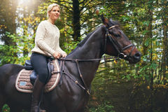 Lady riding a brown horse in park. Portrait of a woman sitting in the saddle of a brown horse in the park Stock Photo