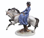 Lady riding horse stock images