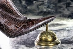 Lady Ringing Service bell. Royalty Free Stock Photography