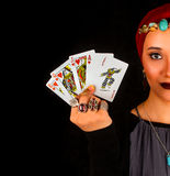 Lady of The Rings Holds All The Cards Royalty Free Stock Photos