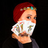 Lady of The Rings Holds All The Cards stock photos