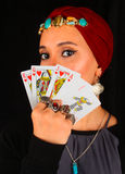 Lady of The Rings Holds All The Cards stock images