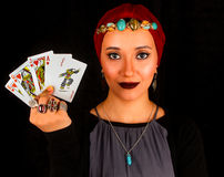 Lady of The Rings Holds All The Cards Stock Photography