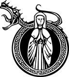 Lady and Roaring Dragon. Woodcut style medieval lady in a circle with a roaring dragon Stock Photography