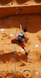 Lady Rock Climber 4. Lady climber in a competition Stock Photo