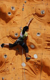 Lady Rock Climber. Lady climber in a competition Stock Image