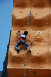 Lady Rock Climber13. Lady climber in a competition Royalty Free Stock Image