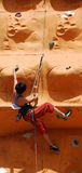 Lady Rock Climber6. Lady climber in a competition Stock Photography