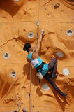 Lady Rock Climber7. Lady climber in a competition Stock Images