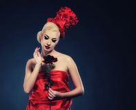 Lady with a rose. Beautiful lady with a rose Stock Photo