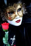 Lady with a rose. Masked lady with a rose during the Venice carnival, portrait Stock Image