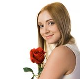 Lady and rose Stock Image