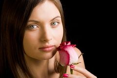 Lady with rose Royalty Free Stock Photos