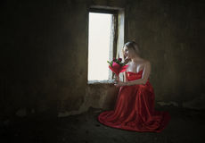 Lady with the rose royalty free stock photo