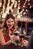 Lady with rose celebrate anniversary with boyfriend Stock Images