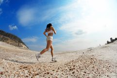 Lady running royalty free stock photo