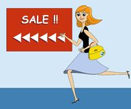 Lady Running Towards a Sale. To do some shopping Stock Image