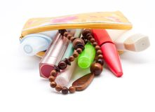 The lady's bag with cosmetics Royalty Free Stock Photography