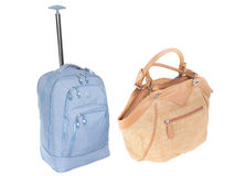 Lady's bag and suitcase Royalty Free Stock Photo