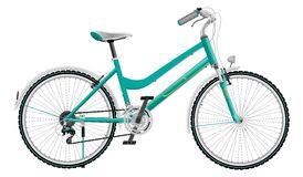 Lady's cyan sports bike Royalty Free Stock Images