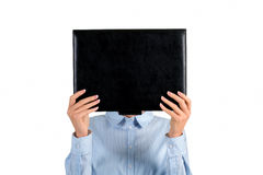 Lady's face covered with folder. Stock Images
