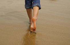 Lady's feet walking on sand. A lady walking away on wet sand stock image