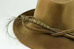 Lady's felt hat closeup. Lady's hat on white background closeup royalty free stock images