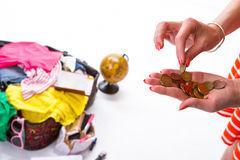 Lady's hand takes a coin. Stock Photography