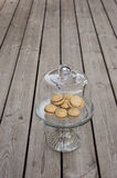 Lady`s Kisses - Italian hazelnut sandwich cookies. On cake stand Stock Images