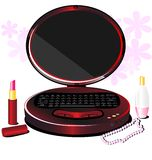 Lady's  laptop. On a white background with pink flowers red notebook in the form of a lady's mirror, next to lipstick, perfume and beads Stock Photos