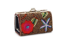 Lady's purse embroidered Royalty Free Stock Image
