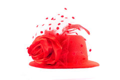 Lady's red hat isolated on white Royalty Free Stock Photography