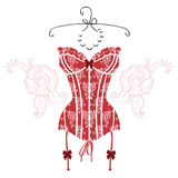 Lady`s sexy red vintage corset. Vector Stock Images