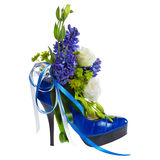 Lady's shoe decorated with flowers Royalty Free Stock Image
