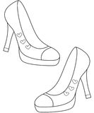 Lady's shoes coloring page Royalty Free Stock Photography