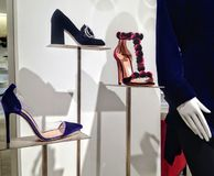 Lady`s shoes on display at Saks Fifth Avenue store in Toronto Stock Photography