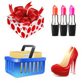 Lady's shopping icon set Royalty Free Stock Photo