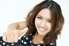 Lady's thumb up. Thumb up good approval hand symbol Royalty Free Stock Photos