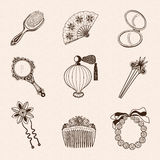 Lady's vintage beauty accessories collection. Stock Photography