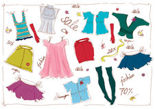 Lady's wear sale. Illustration of lady's wear and accessories Stock Photography