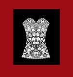 Lady's white lace corset on black Stock Photography