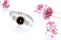 Lady's wristwatch with some flowers. Silver lady's wristwatch with some pink flowers on the white Royalty Free Stock Images